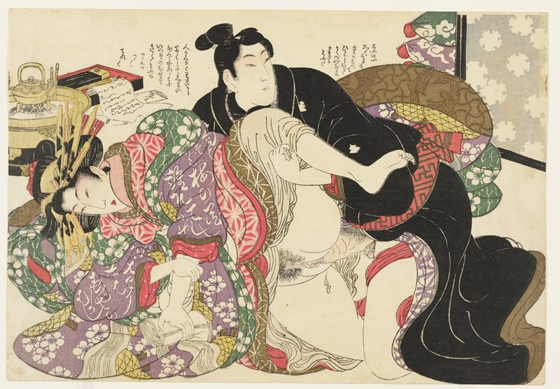 couple engaged in intercourse; man wears black kimono with several small white designs; woman wears many layers of brightly-patterned fabric, with outer layer of purple fabric with white flowers; writing box with letters and teapot, ULC; text to left of man's head and above man's PL shoulder