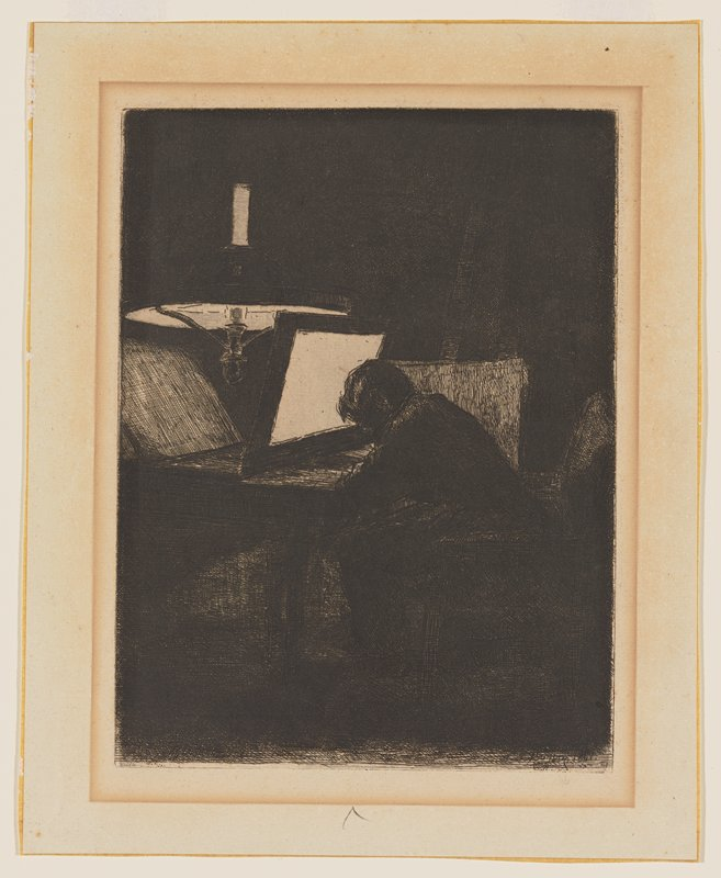 dark scene with silhouette of man seated in an armchair at a table, bent over his work, with a panel in front of his head, diffusing light from a large hanging lamp in ULQ