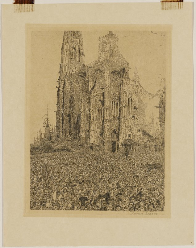 image of a crowd of people in front of a cathedral; those in foreground are facing the viewer