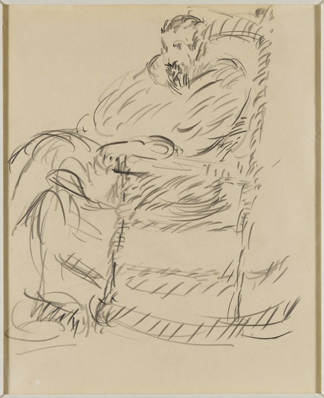 loose line drawing of a man sitting in a rocking chair; rocking chair faces to the left of the picture plane