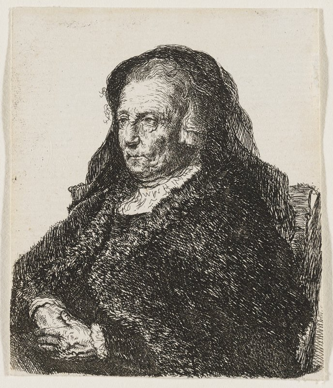 old woman seated in 3/4 view wearing a black fur shawl and black headdress with veil down the back; hands in her lap; facing to the L of the picture plane; matted and in frame with four other prints
