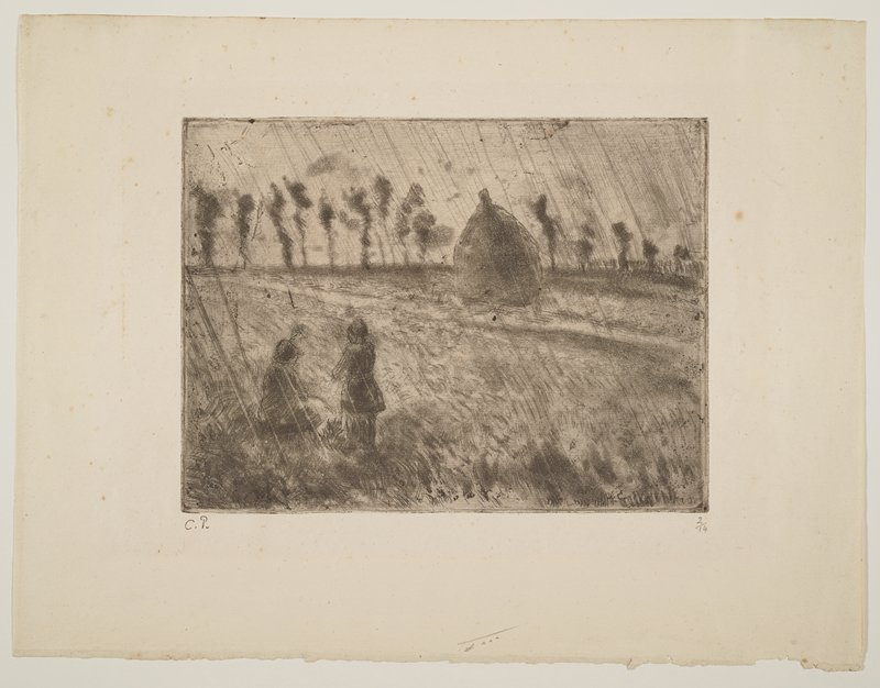 two figures seen from back--one seated, one standing--in LLC; haystack in URQ; diagonal lines of rain falling; row of trees at horizon line