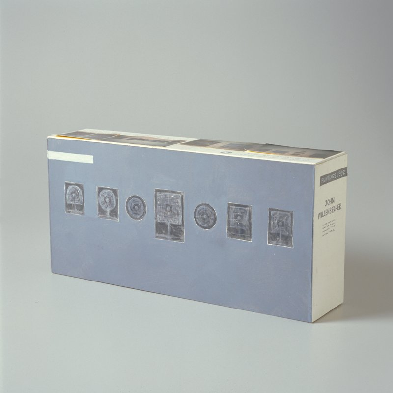 Rectangular box, painted on 4 sides; four photos attached to top; model of a baffel for an exhibition