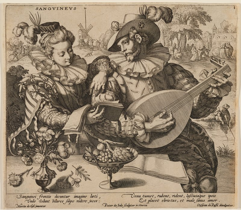 elaborately-dressed couple seated at a table outdoors; woman at left holds a books in her PR hand and rests her PL arm on the shoulder of man at right, who is playing a lute; vase of flowers, footed bowl with fruit and book on table; landscape in background with windmill-like structure, hunters with bows aiming at bird, fisherman and couples beneath a tree; text at bottom below image