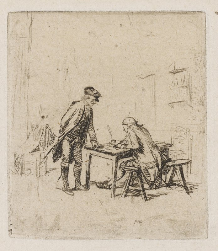 male figure leaning on a desk with his PL fist, watching another male figure, seated on a bench in front of the desk, writing; lightly sketched background