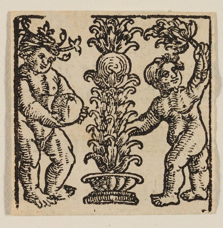 Letter I: bowl with fountainlike foliage at center; standing putti at each side, one at L holding a melon, and the one at R holding a branch