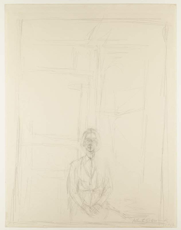 seated female figure sits with hands folded on lap in center of composition; series of horizontal and vertical lines form a background resembling door and window frames; lines are sketch-like and abstracted in areas with visible erasures