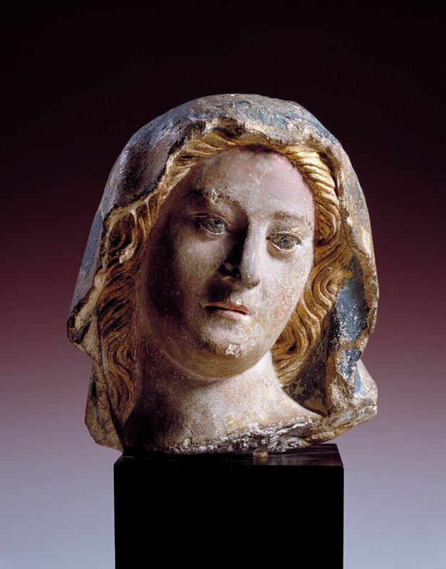 Head of the Virgin, limestone, polychromed, French XVc