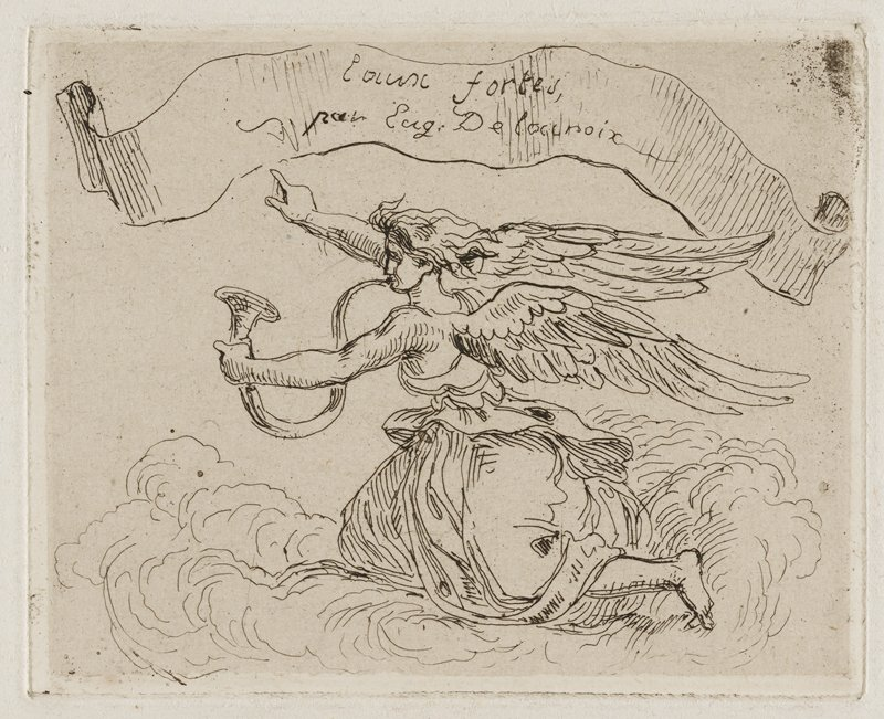 profile of female angel gliding on cloud with wings outstretched, blowing a long horn; PR arm extended with fingers pointing to inscribed banner above