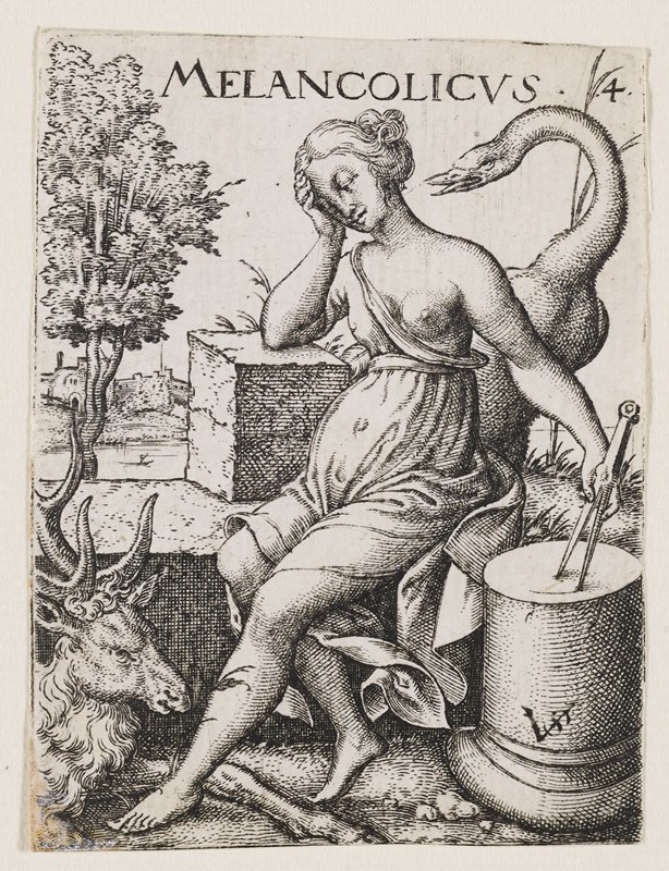 seated woman resting head on elbow propped up on a block, idly drawing on a round pedestal with compass in PR hand; large swan behind her, goat LLC
