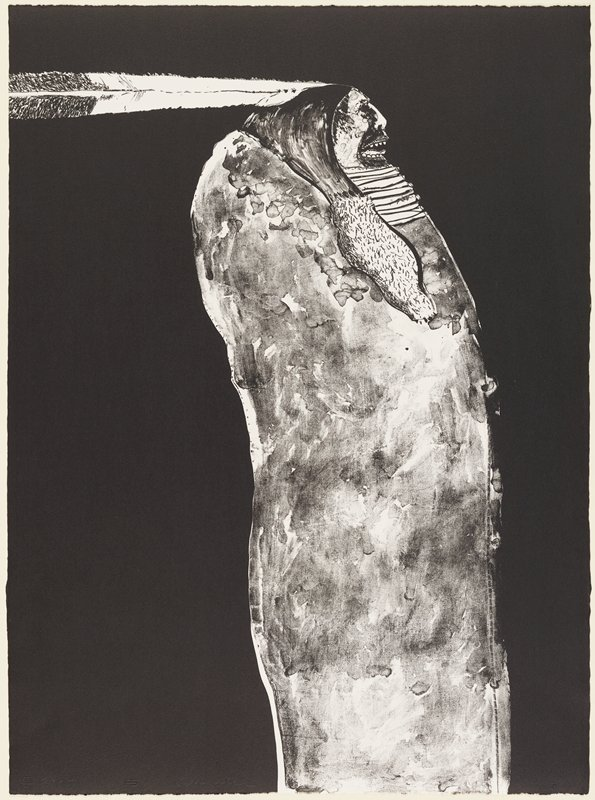 slightly stylized image of standing figure in profile from PR, wearing one very long horizontal feather in his hair; open mouth with teeth and tongue showing; figure wears a mottled blanket; black ground