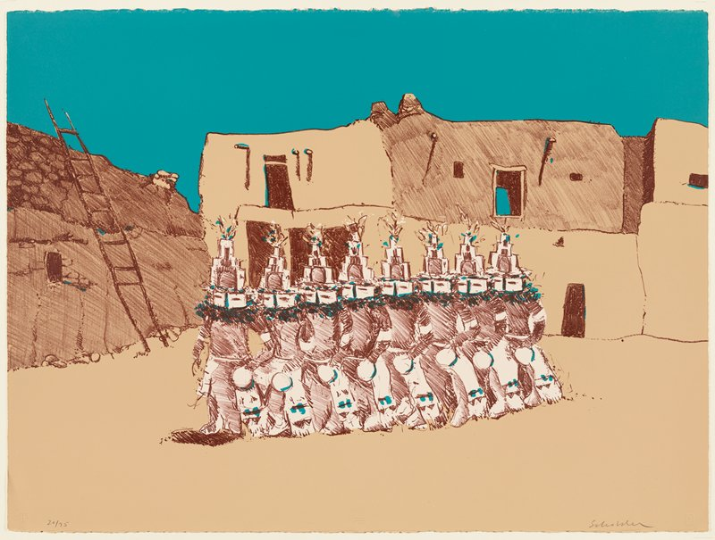 eight figures in a lines, each wearing identical costumes with kachina masks; pueblos in background; flat turquoise sky; tan, brown and turquoise