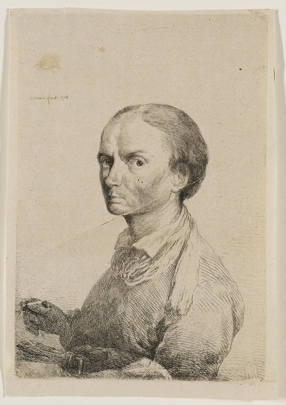 3/4 view of man with large eyes, short, thinning hair, and large forehead stares at spectator over PL shoulder; holds tool in PR hand, and a cluster of brushes in PL