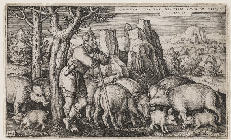 male figure leaning on long staff against a tree; large herd of pigs behind him