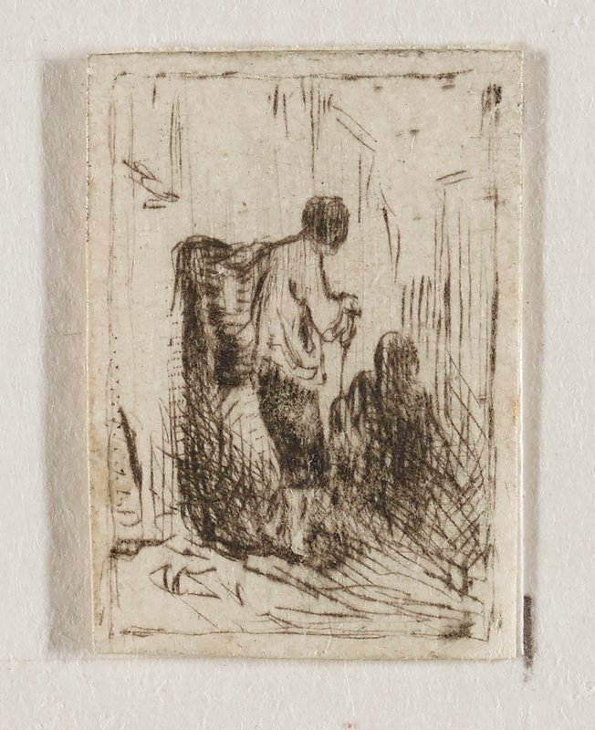 postage-stamp sized image: standing male figure in breeches and white shirt standing with back to viewer, holding a stick and with a basket on his back; angled toward rear; shadow of another figure LRQ, possibly seated