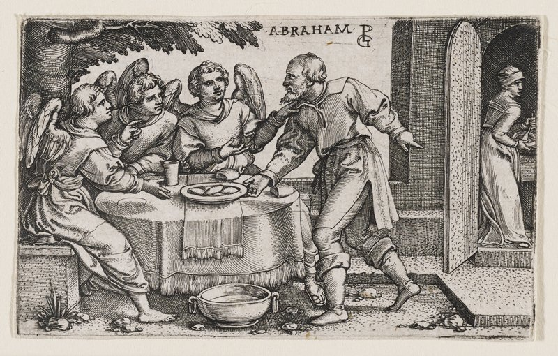 three angels sitting at a round table at L of image, looking at a male figure to the R of the table who appears to be grabbing a plate; bowl on ground in front of table; woman at R entering scene from arched door