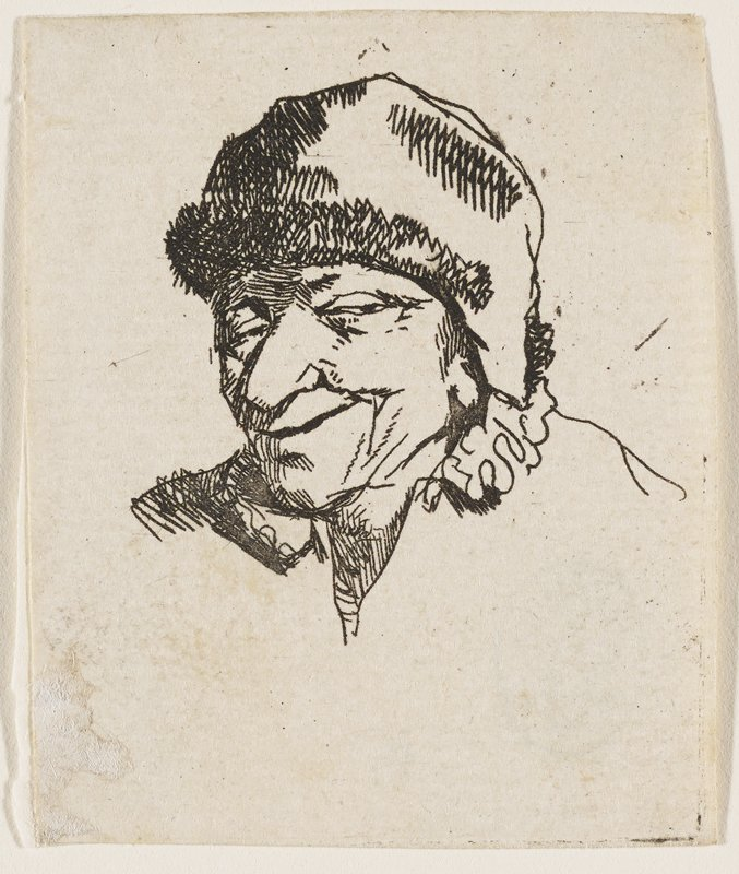 bust of a male figure with narrowed eyes, with a smirk and a large nose, wearing a large hat; ruffles at collar