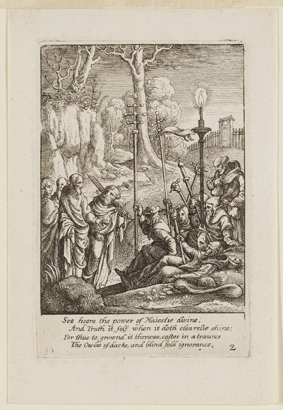 Jesus at LL beseeching a small mob of men at R who carry nails, large staffs, and a candle; man behind Jesus holds a sword; cliffs, a fence, and gate in background