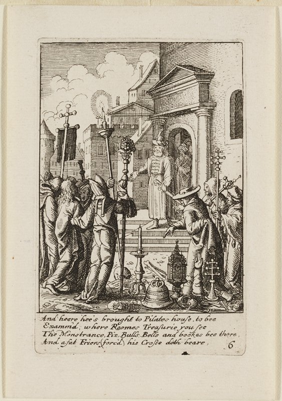 man in priestly clothing on stairs in middle ground addresses a small group of figures in foreground, including Jesus, who is held between several men at LL; three figures on R with staffs; one of the figures at R is pointing down to a collection of objects including a skull, a candle, and a helmet at lower center