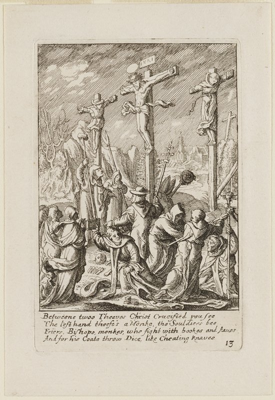 Jesus on cross with halo and Inri sign over head; flanked by two others on crosses; crowd with daggers standing in front of Jesus