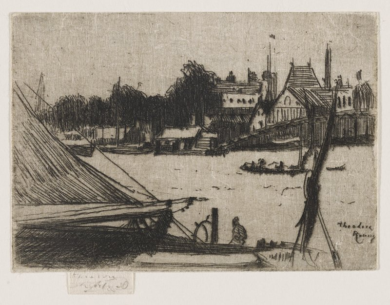 portion of a boat shown at L with man sitting on prow near lower center of image; buildings along opposite shore in middle ground with willow trees near L; another boat with silhouetted passengers near middle