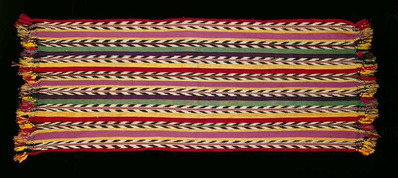 silk, warp-faced, some ikat, multicolor stripes (pink, red, yellow, purple); multicolor fringe
