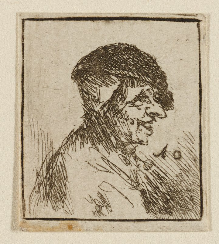 profile bust of man with large, open smile, long pointed nose, dark slouching hat; facing R