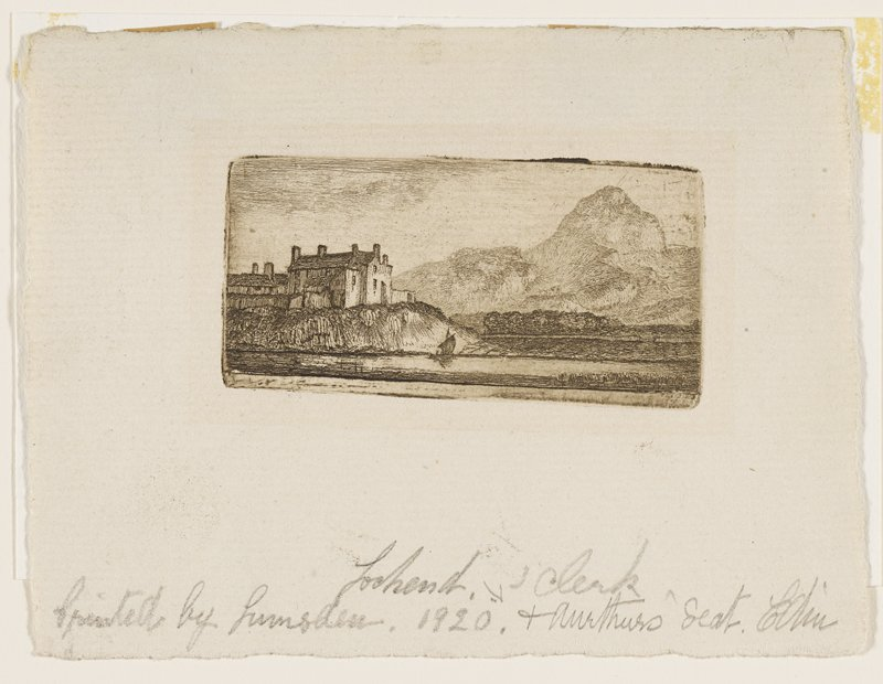 large stone building with small windows on a cliff at L; sailboat in loch near cliff; high, rugged hills behind low plains at R