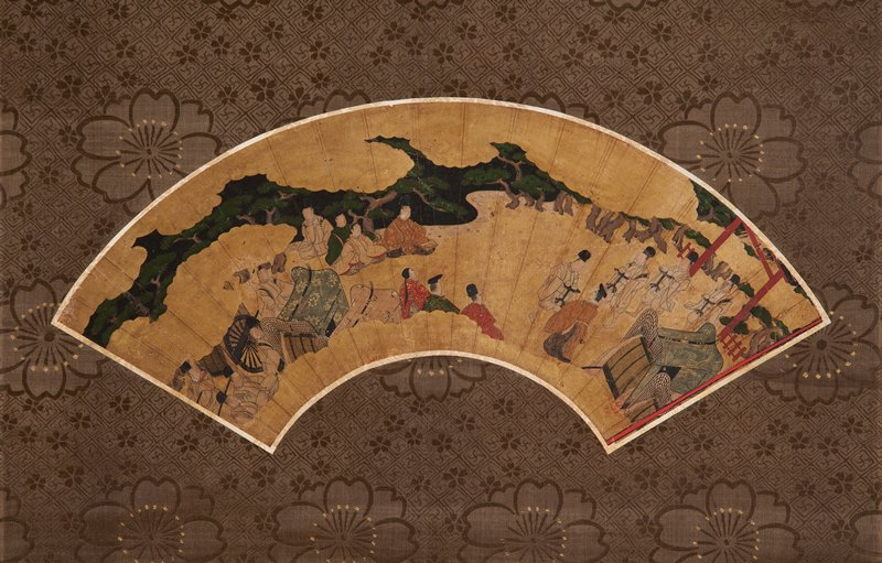 unsigned; mounted fan painting; group of men walking alongside a carriage at R under red torii gate; another group of men with two carriages at L, with three men seated on ground at UL;; scene is divided by gold clouds