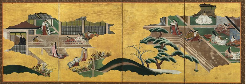 two cut-away interior vignettes with hill and trees between them; scene on left with man in black at left; standing lady at center in white flowered kimono and red apron-like skirt; three seated woman at right, one at left; woman in pink walking up stairs toward standing woman; two women in LRC in garden with white and red flowers; scene at right with man in white seated at top center; five seated women; one standing woman at left carrying a tray with a white cloth; unsigned