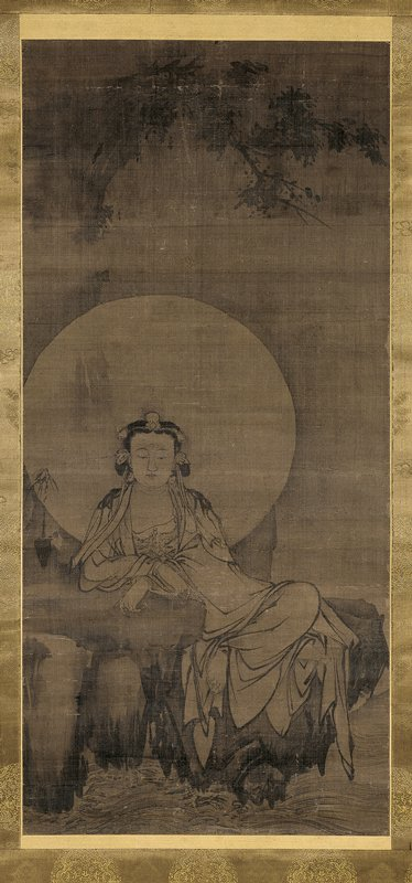 robed figure seated on rock over small waves with moonlike halo; sprig of bamboo in vase at L; waterfall at L; cliff and branches above