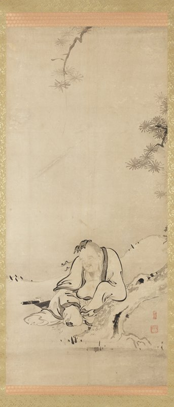 male figure in white robes seated, leaning PL arm on bent tree trunk, with eyes closed, peaceful look on face; scroll, book, and teapot to his R; pine boughs at top and R