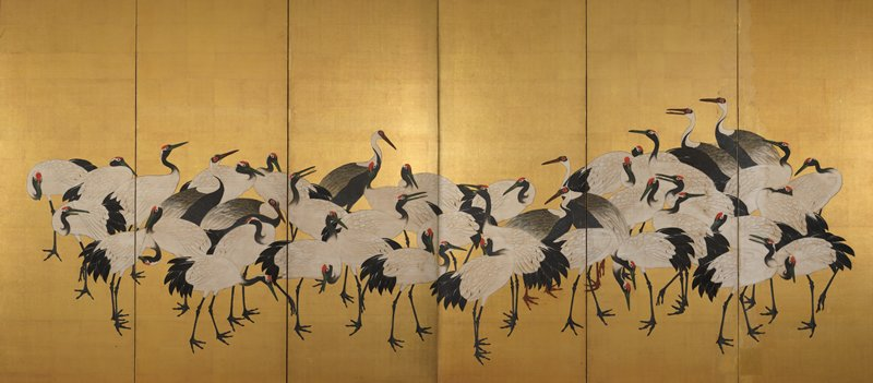 six panel screen; dense flock of white cranes, and a few cranes with darker feathers against gold background