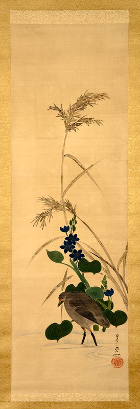 bird walking in water in front of dark blue flowers with rich green foliage; reeds extending toward top of image