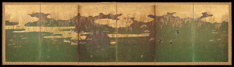 thick green grasses against gold background of clouds; various overlapping flowers in blue, red, white; blue and yellow flowers; white and yellow flowers, and tiger lilies; large moon (?) in center panel