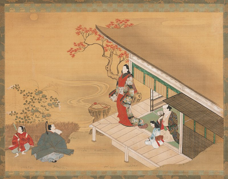 unsigned; corner of a building with a woman standing on the verandah, looking out at a man and young boy on the ground; the child is holding a sword, and the man kneels with a fan; older woman with a young girl sit inside behind the standing woman; maple tree behind building