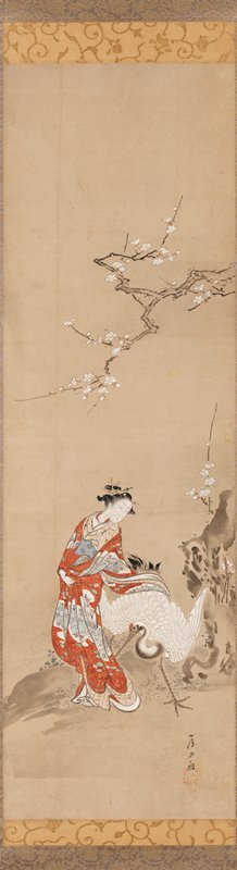 woman in richly decorated red kimono loosely embracing a large white crane with her PL arm; vertical rock with blossoms at R; horizontal blossoming branch extending just above her head