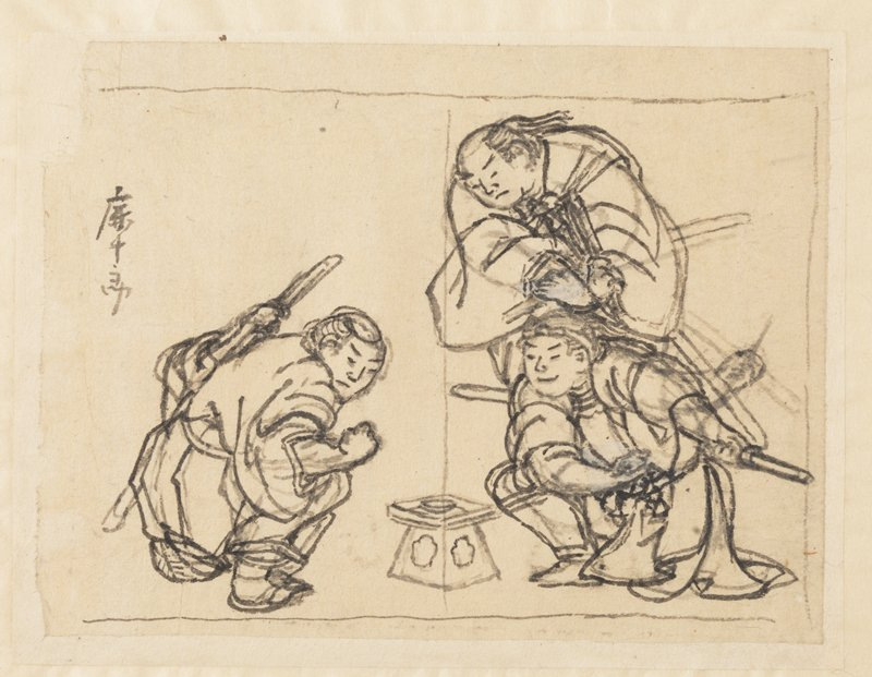 sketch of three men crouching around a small tray on a triangular base; man at L crouches with sword at PL, PR hand in fist, looking out; man at LR smiles, resting PR arm over knee; man at UR is standing, leaning over and looking at tray with arms crossed