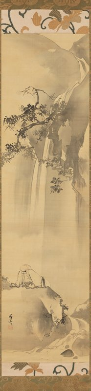 bald figure in white robes reclining on a black rock near rapids looking up, admiring a waterfall and tree branches