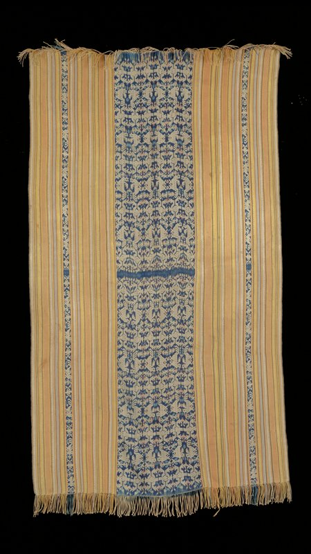 Horizontal stripes of white, brown, tan, grey, yellow, orange, white and blue with large central blue stripe with 6 rows of repeating birds and organic motifs; 2 narrow blue stripes with birds and organic motifs