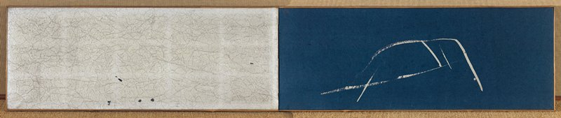two panel small screen; small boat drawn with just a few silver strokes against a dark blue background; silver panel opposite