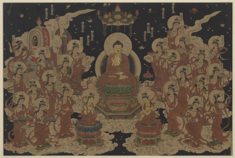 framed: Buddha seated cross-legged on lotus platform with PL hand open in lap and PR hand giving an O symbol; two halos and a beaded cloud above head; surrounded on two sides by figures playing instruments floating on clouds; two figures on either side, one praying, the other offering an object; dark background with small Bodhisattva figures