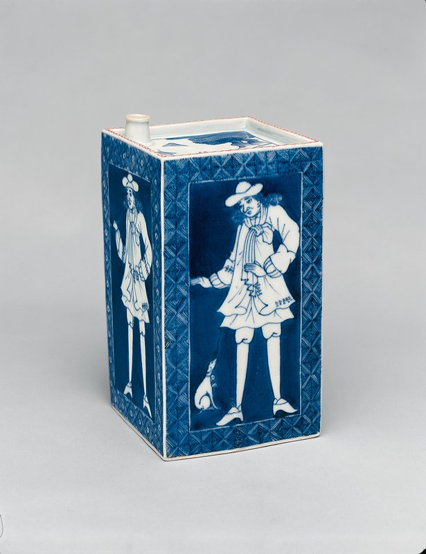 rectangular bottle decorated in underglaze blue, each side bearing a panel depicting a Dutchman, two with a dog, two smoking pipes