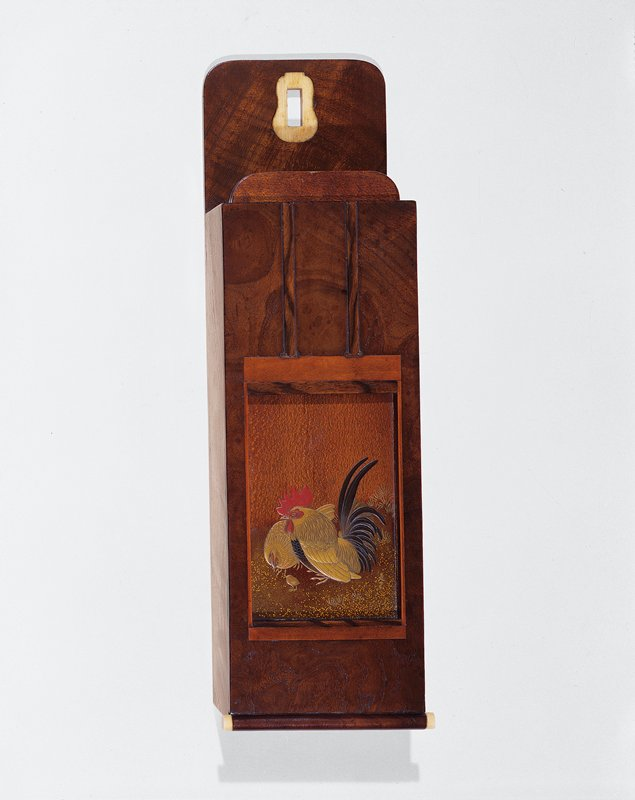 Zodiac calendar with 6 two-sided wooden plaques, decorated with motifs of the 12 animals of the traditional Chinese zodiac (a–f); holder in shape of hanging scroll (g)