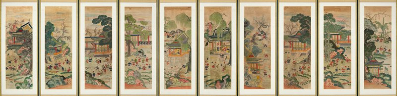 10 panel screen with mounted colorful images of children playing in gardens, climbing trees, swimming, playing games