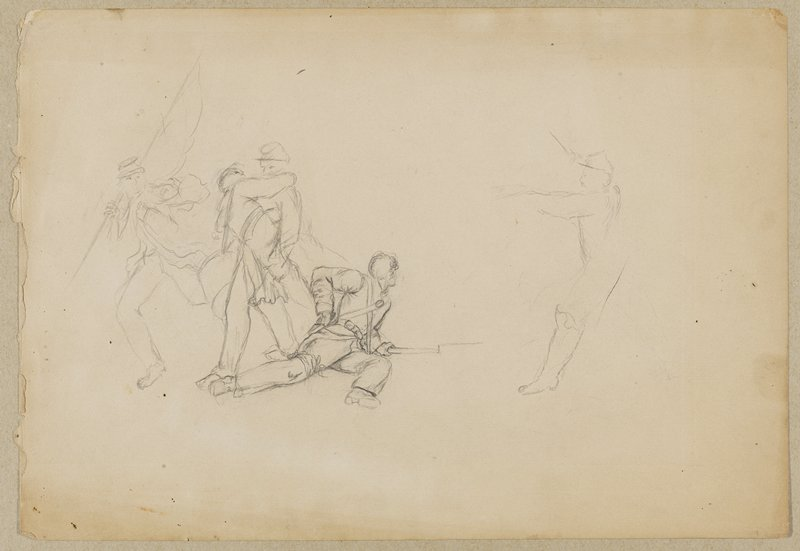 sketch of a battle scene; man sitting at center with his body twisted away from the viewer, leaning on ground over bayonet; reaching into bag on belt with PR hand; man carrying a wounded soldier at L, near a barefoot soldier who is carrying a flag; outlines of a running man at R; scribbles on back