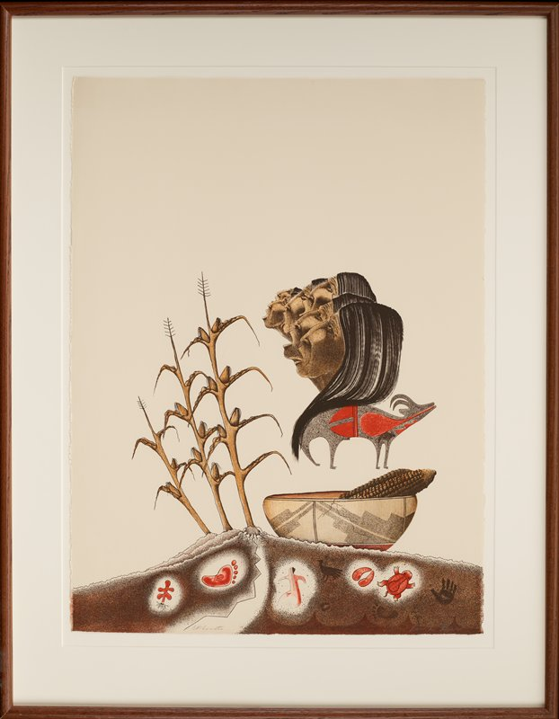 stylized image with three corn plants at left; faces in profile of six singing Native American people, with a stylized Native American drawing of a horned quadruped in profile with red designs on its body below heads of singers; bowl with ears of corn to right of corn plants; earth at bottom with Native American stylized symbols (footprint, dancing figure, hoofprint, turtle, hand); top 1/3 of image is blank negative space; printed in brown, grey, rust red and tan