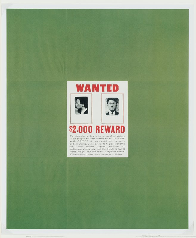 """Wanted"" poster in red, black, and white with profile and straight on images from artist's passport and paragraph inviting a reward for information leading to Ai Weiwei's release; set against green square with white border"