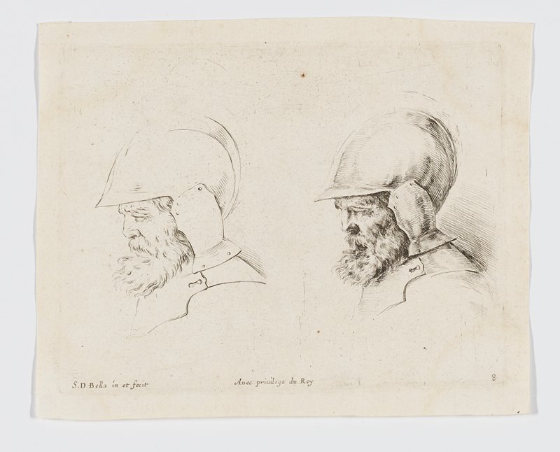 two studies of an old soldier's head in profile--more detailed on right