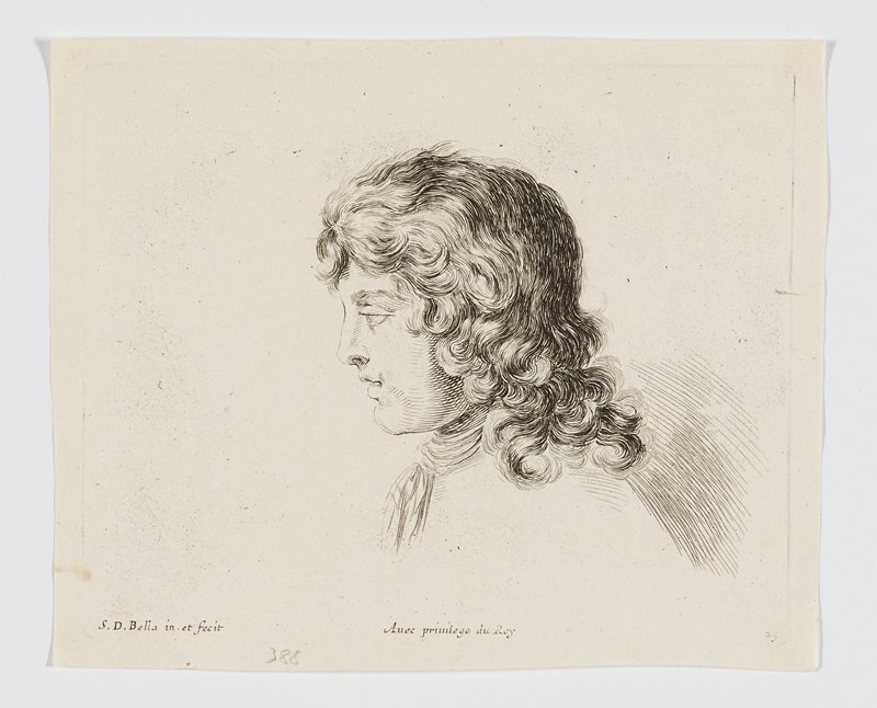 head of a young man in profile with long curly hair, seen in profile from PL